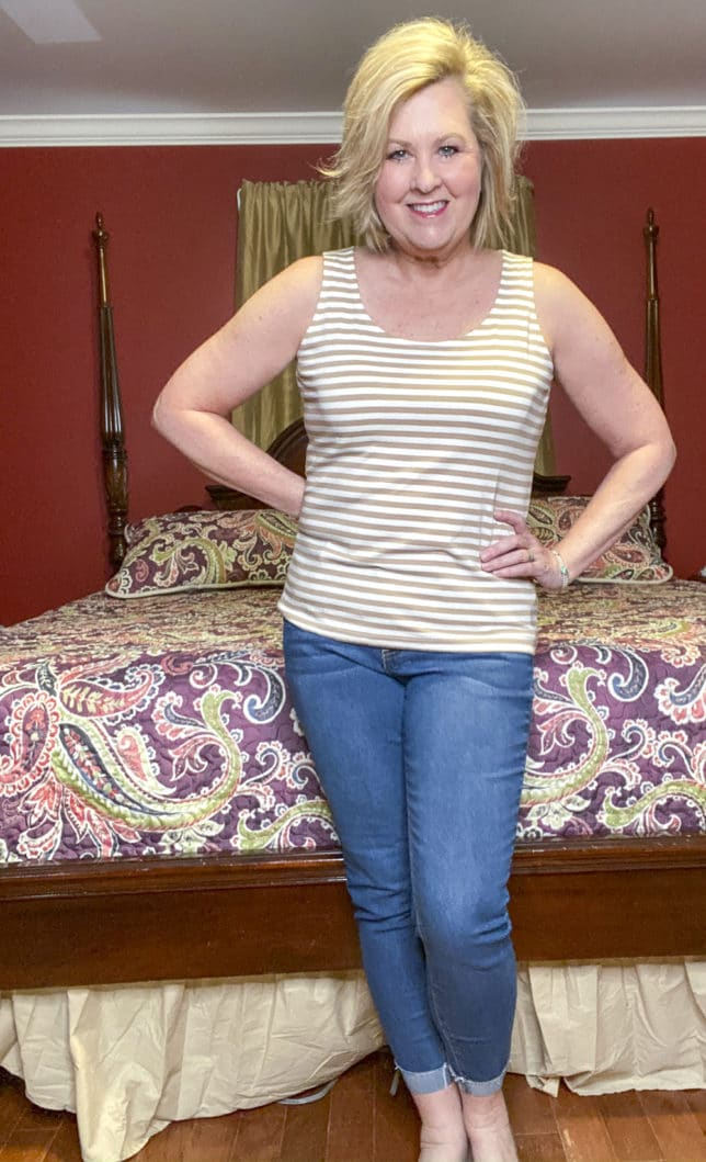 Talbots try on session from Fashion Blogger 50 Is Not Old wearing a rattan and white stripped tank top
