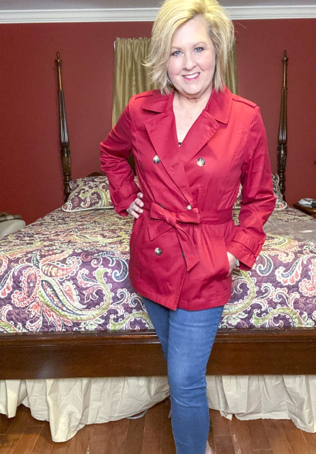 Talbots try on session from Fashion Blogger 50 Is Not Old wearing a cranberry trench coat
