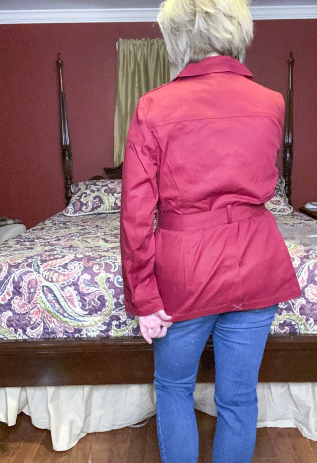 Talbots try on session from Fashion Blogger 50 Is Not Old showing the back of a red trench coat