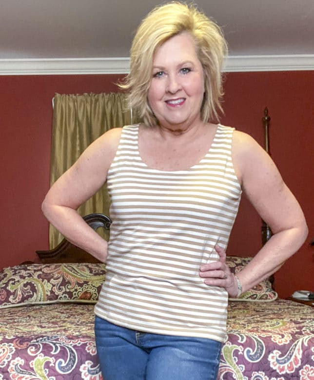 Talbots try on session from Fashion Blogger 50 Is Not Old wearing a tan and white stripped tank top