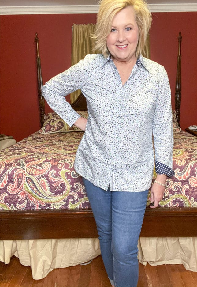 Talbots try on session from Fashion Blogger 50 Is Not Old wearing a floral print button up shirt