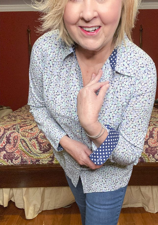 Talbots try on session from Fashion Blogger 50 Is Not Old showing the contrasting print on a floral shirt
