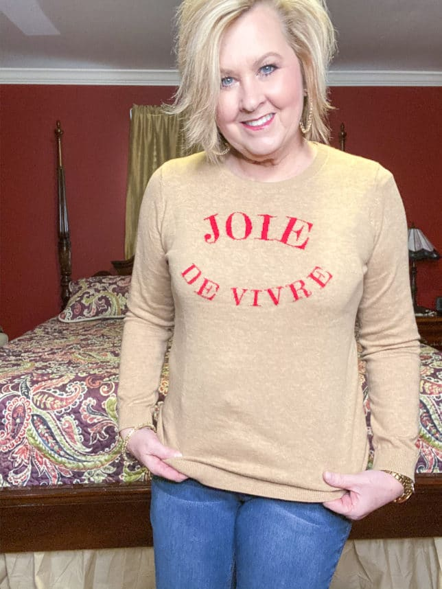 Joie De Vivre message on a tan sweater from Talbots