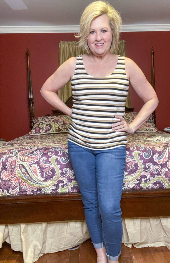 Talbots try on session from Fashion Blogger 50 Is Not Old wearing a stripped tank top