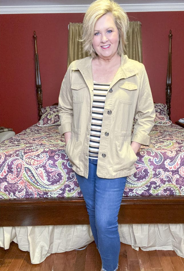 Talbots try on session from Fashion Blogger 50 Is Not Old wearing a safari jacket