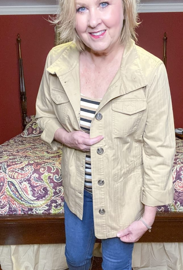 Talbots try on session from Fashion Blogger 50 Is Not Old wearing a safari jacket with buttons