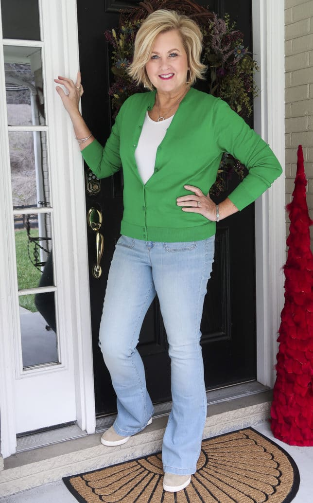 Fashion Blogger 50 Is Not Old is in the mood for spring with this Kelly Green cardigan from J.Crew Factory and faded flared jeans