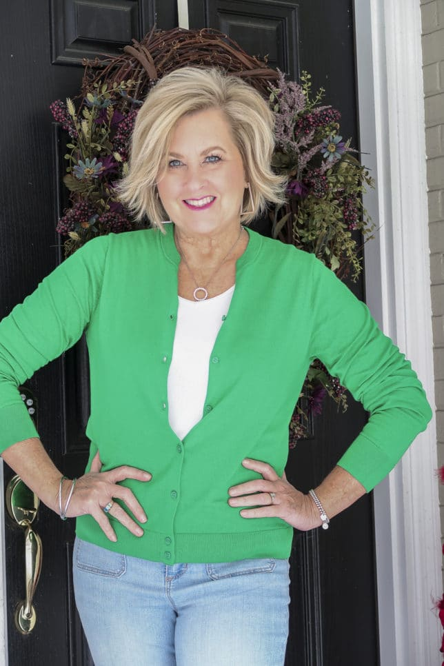 Fashion Blogger 50 Is Not Old is wearing a Kelly Green cardigan from J.Crew Factory