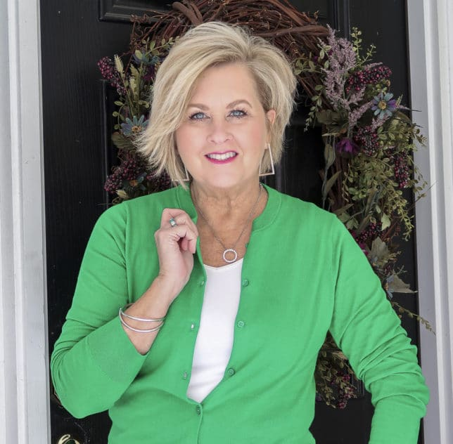 Fashion Blogger 50 Is Not Old is in the mood for spring with this bright green cardigan from J.Crew Factory