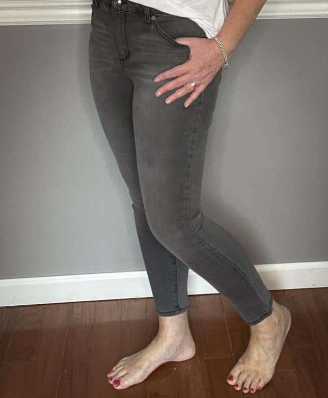 Fashion Blogger 50 Is Not Old in dark gray jeans