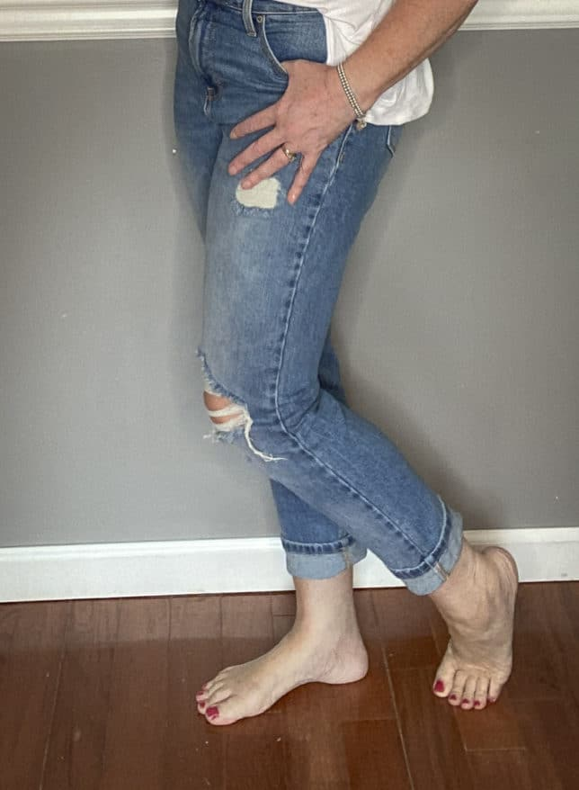 Fashion Blogger 50 Is Not Old in distressed jeans