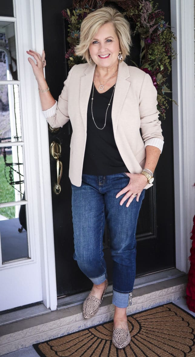 Fashion Blogger 50 Is Not Old in a taupe Ponte knit blazer and a black v-neck t-shirt