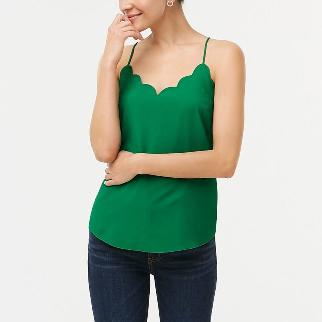 A green scalloped cami from J. Crew factory