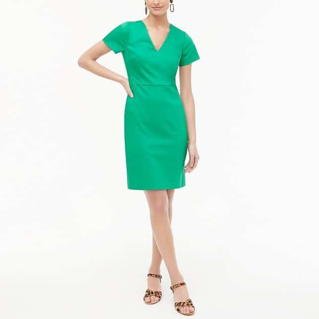 A bright green sheath dress from J. Crew Factory