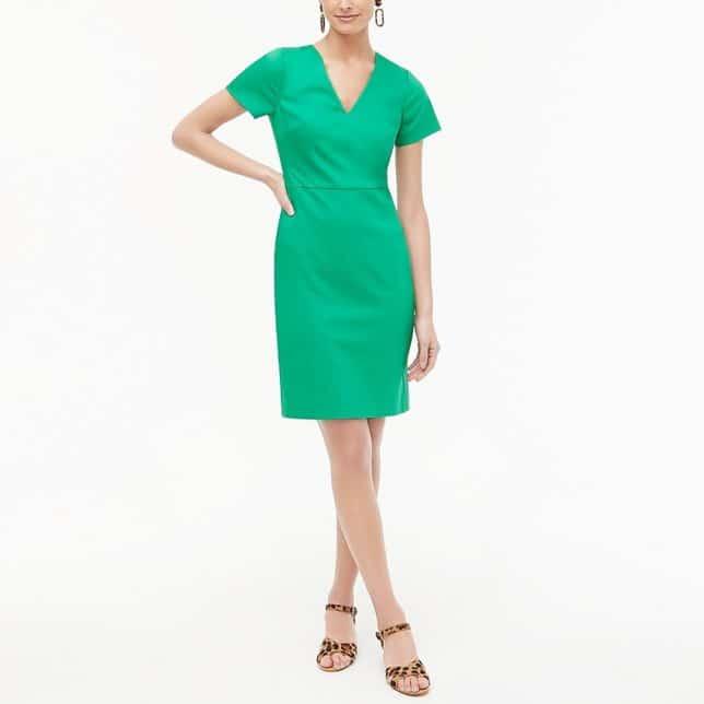 A bright green sheath dress from J. Crew Factory