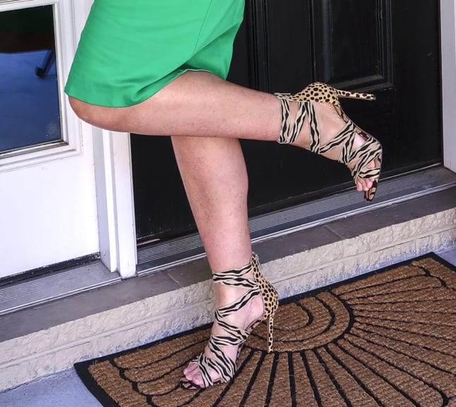 Fashion Blogger 50 Is Not Old is wearing a gorgeous pair of zebra and cheetah print shoes