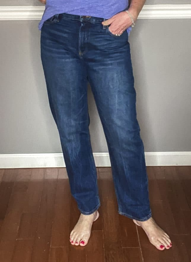 Fashion Blogger 50 Is Not Old showing a pair of boyfriend jeans from Old Navy
