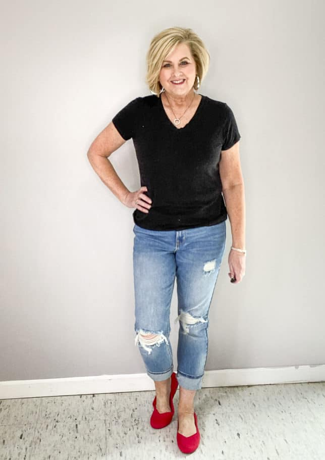 FASHION BLOGGER 50 IS NOT OLD WEARING RUBY RED SHOES FROM ROTHY'S