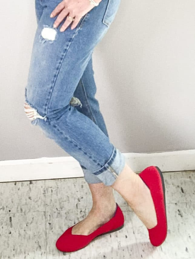FASHION BLOGGER 50 IS NOT OLD SHOWING RUBY RED SHOES FROM ROTHY'S