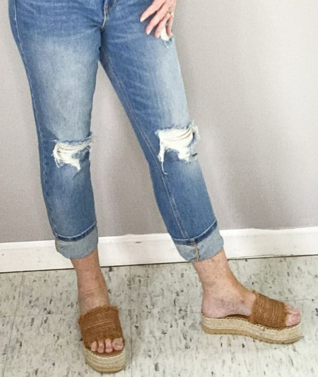 FASHION BLOGGER 50 IS NOT OLD SHOWING COGNAC FRAYED PLATFORM SHOES