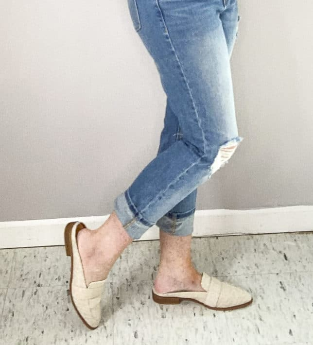 FASHION BLOGGER 50 IS NOT OLD SHOWING SUMMER LOOKING MULES FROM TARGET
