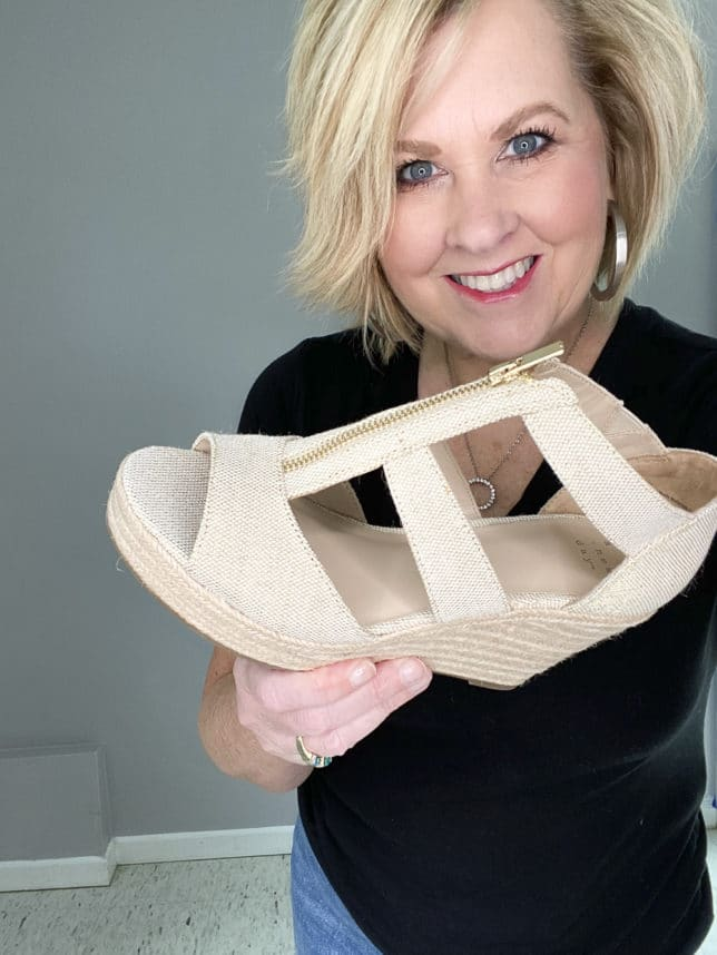 BLOGGER 50 IS NOT OLD HOLDING LINEN LOOKING PLATFORM WEDGE WITH A GOLD ZIPPER FROM TARGET