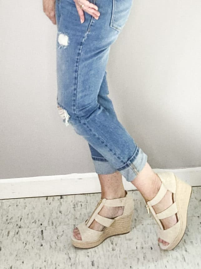 BLOGGER 50 IS NOT OLD SHOWING LINEN LOOKING PLATFORM WEDGE FROM TARGET