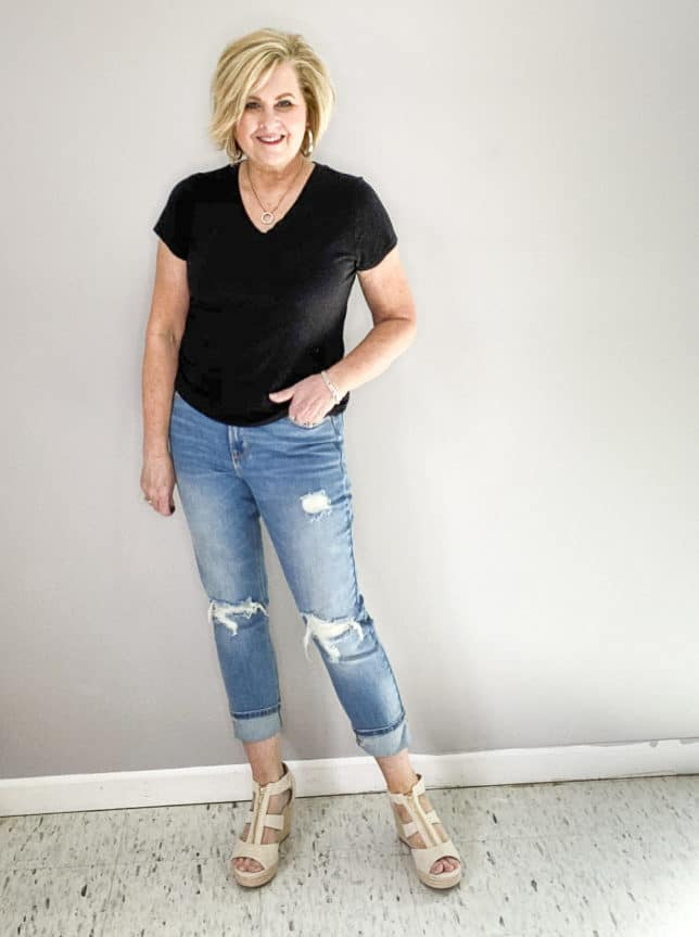 FASHION BLOGGER 50 IS NOT OLD WEARING LINEN LOOKING PLATFORM WEDGE FROM TARGET