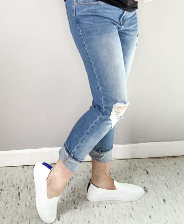 BLOGGER 50 IS NOT OLD SHOWING SLIP ON WHITE SNEAKERS FROM ROTHY'S