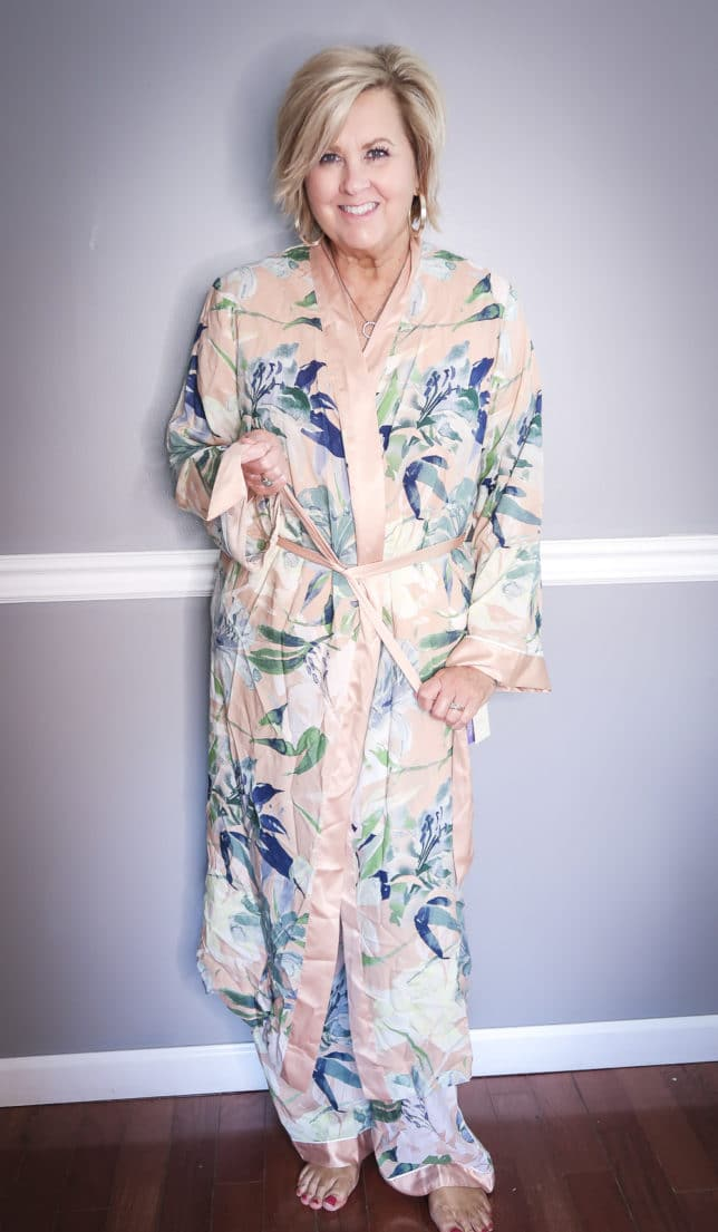 Fashion Blogger 50 Is Not Old wearing a floral robe