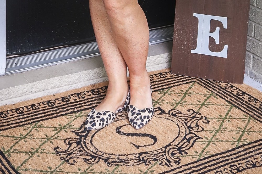 Fashion Blogger 50 Is Not Old is wearing leopard print flats from Old Navy