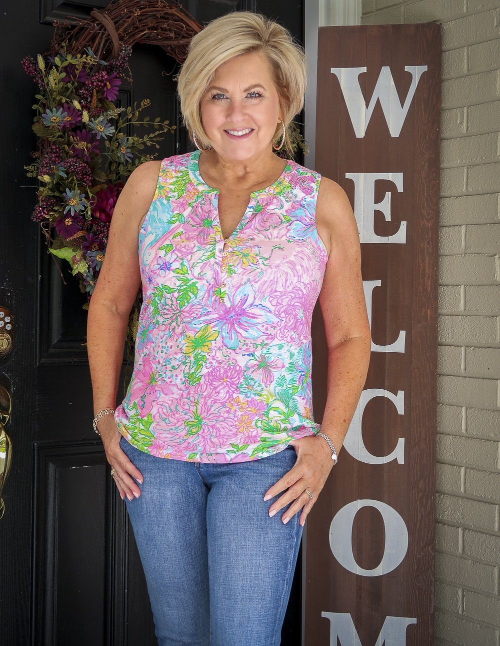 Fashion Blogger 50 Is Not Old is wearing a Lilly Pulitzer top