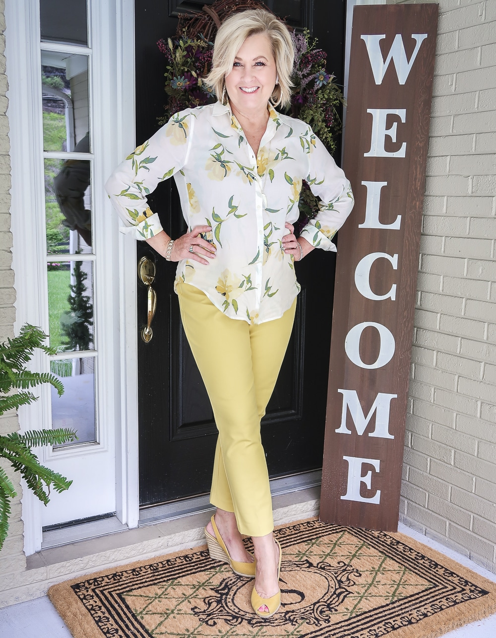 Fashion Blogger 50 Is Not Old is looking sunny in this white and yellow outfit along with the yellow espadrilles from Michael Kors