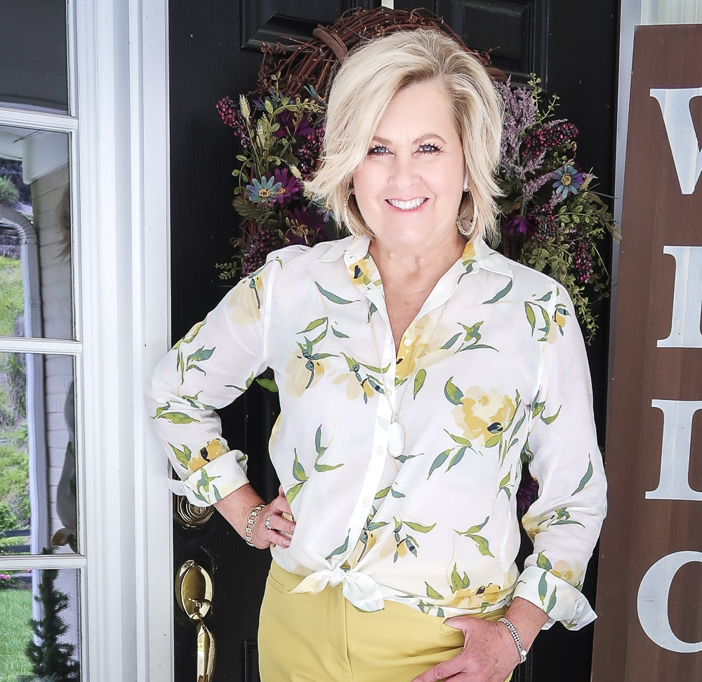 Fashion Blogger 50 Is Not Old is looking sunny in this white and yellow shirt