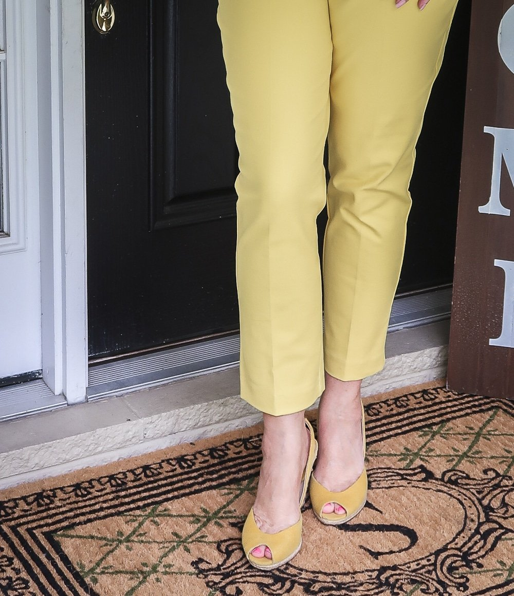 Fashion Blogger 50 Is Not Old is looking sunny in this pair of yellow espadrilles from Michael Kors