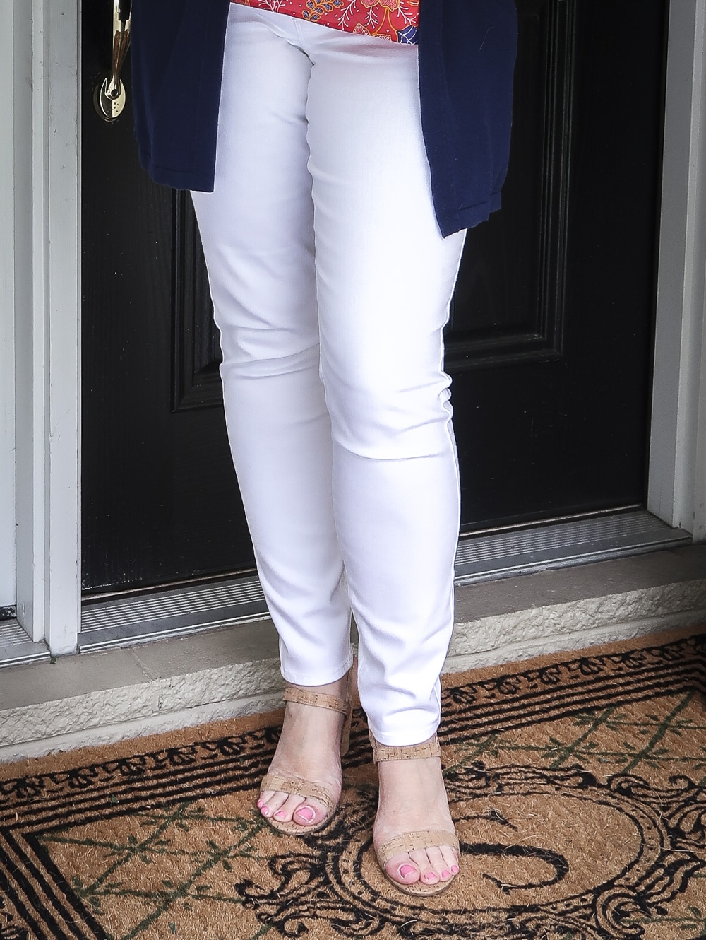 Fashion Blogger 50 Is Not Old is wearing white jeggings