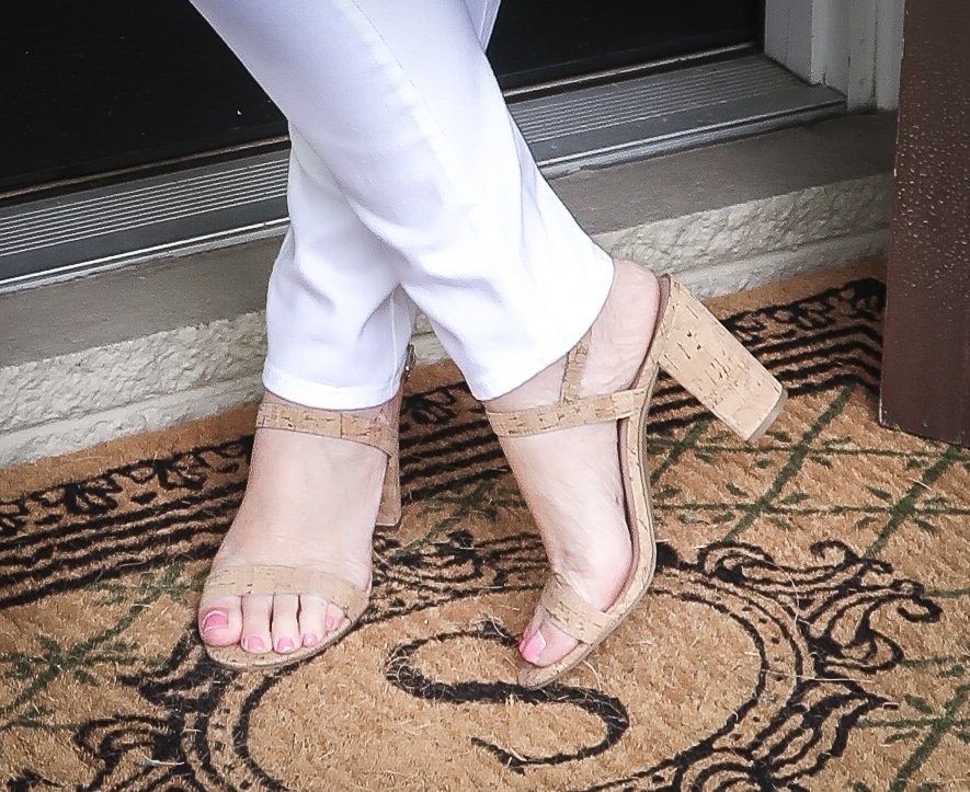 Fashion Blogger 50 Is Not Old is wearing white jeggings and cork sandals