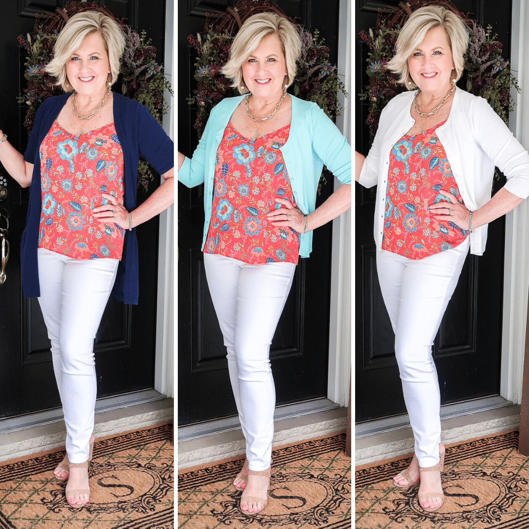 Fashion Blogger 50 Is Not Old is wearing three different colored cardigans with white jeggings