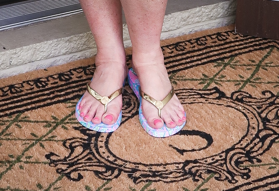 Fashion Blogger 50 Is Not Old is wearing Lilly Pulitzer flip flops