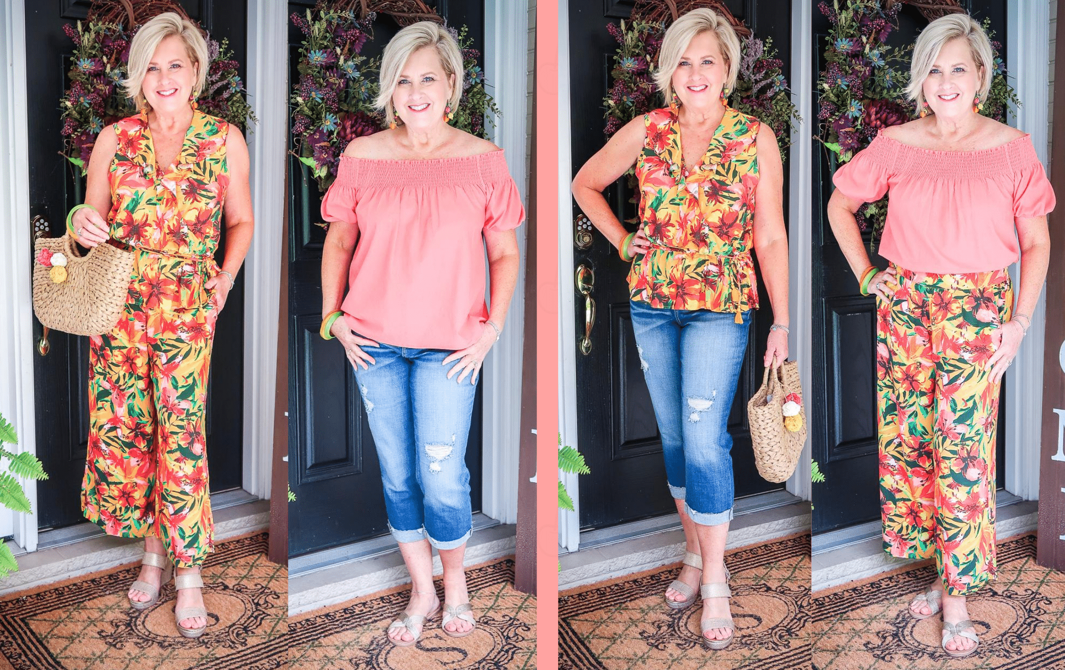 Fashion Blogger 50 Is Not Old is showing 4 outfits made from 4 items all from Walmart
