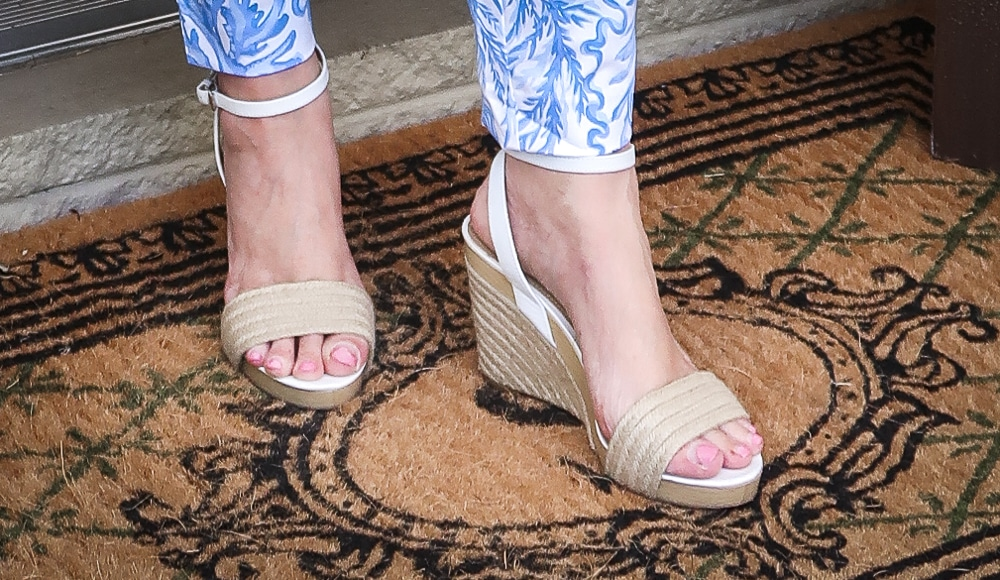 Fashion Blogger 50 Is Not Old is wearing espadrille wedges