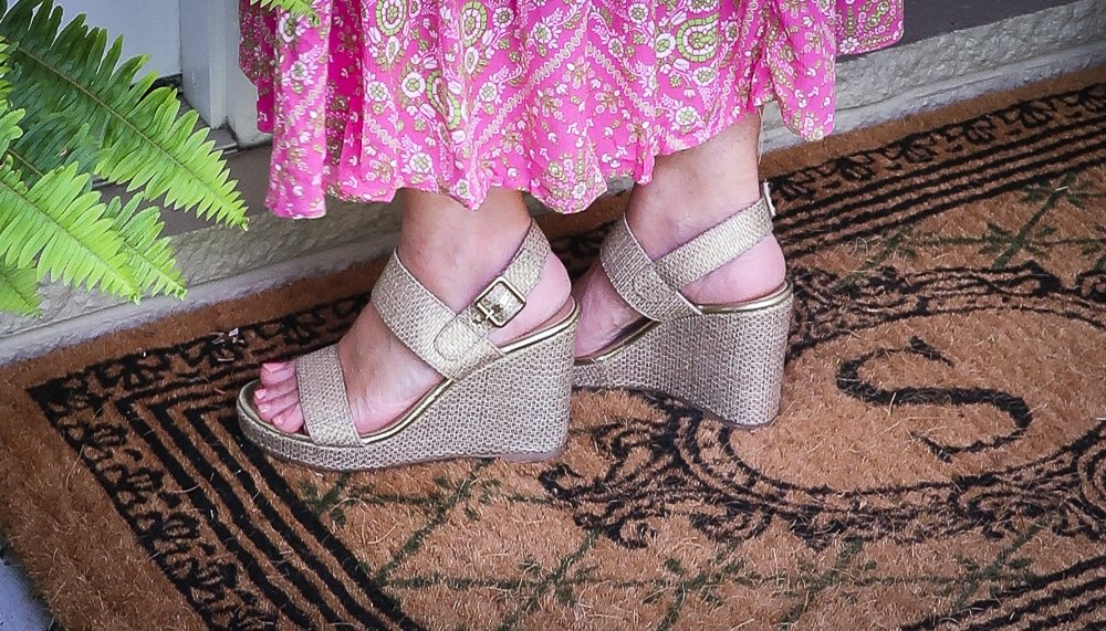 Fashion Blogger 50 Is Not Old is wearing gold wedge espadrilles