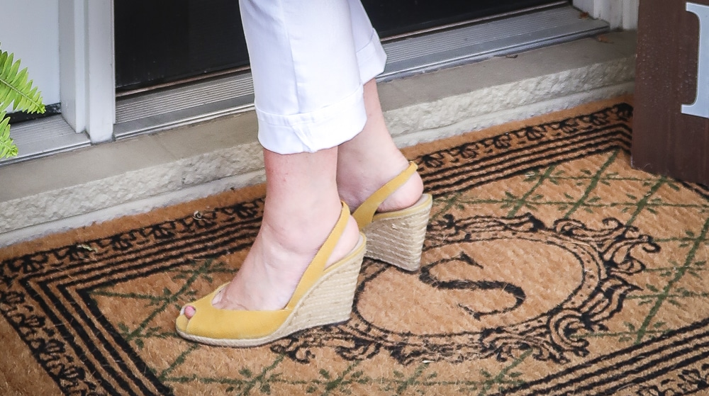 Fashion Blogger 50 Is Not Old is looking summery in yellow espadrilles