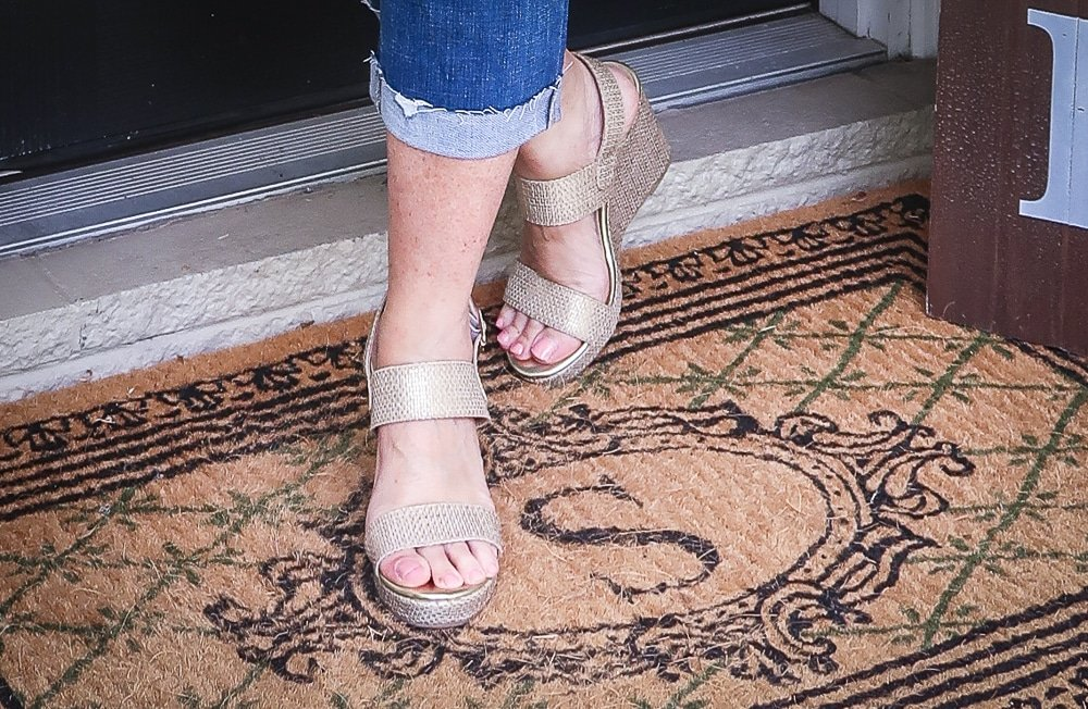 Fashion Blogger 50 Is Not Old is wearing gold espadrille wedges from Walmart