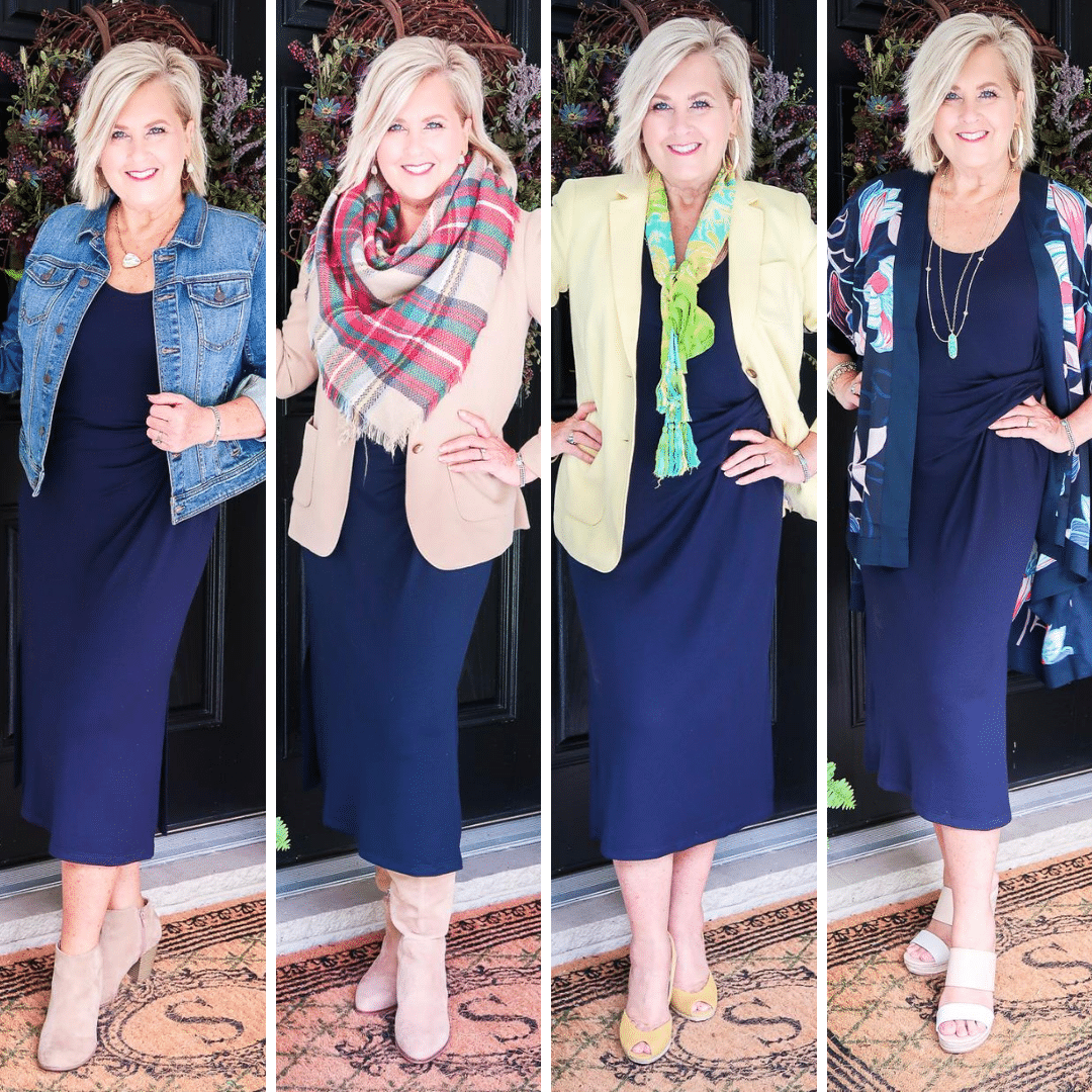 Fashion Blogger 50 Is Not Old is wearing a navy midi dress from Loft in all of the seasons.