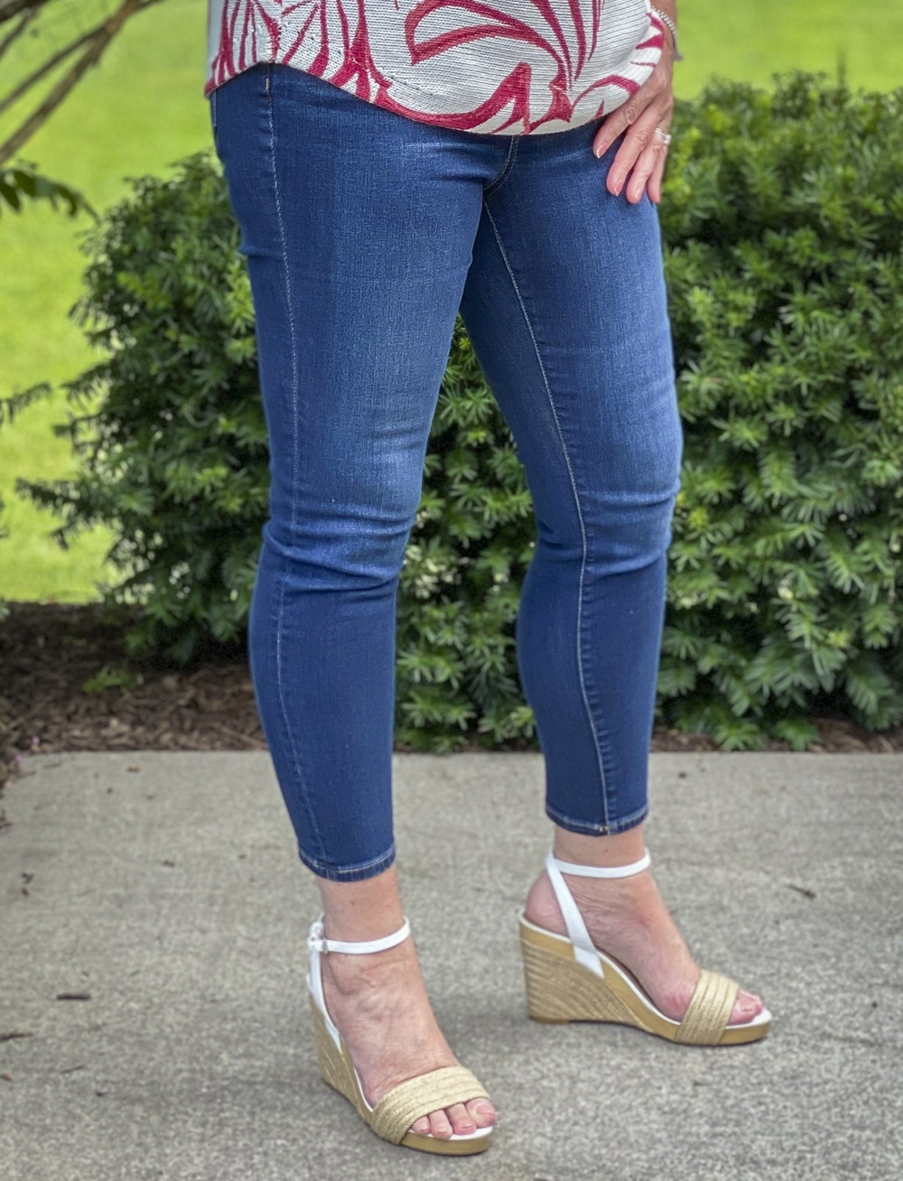 Fashion Blogger 50 Is Not Old is wearing skinny ankle jeans from Chico's