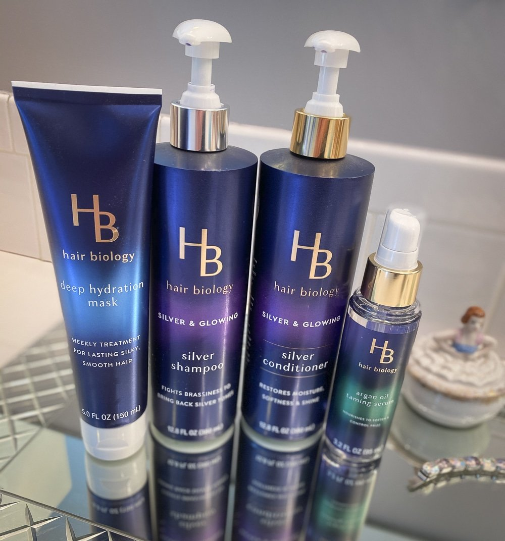 Fashion Blogger 50 Is Not Old is showing the Silver & Glowing Collection from Hair Biology