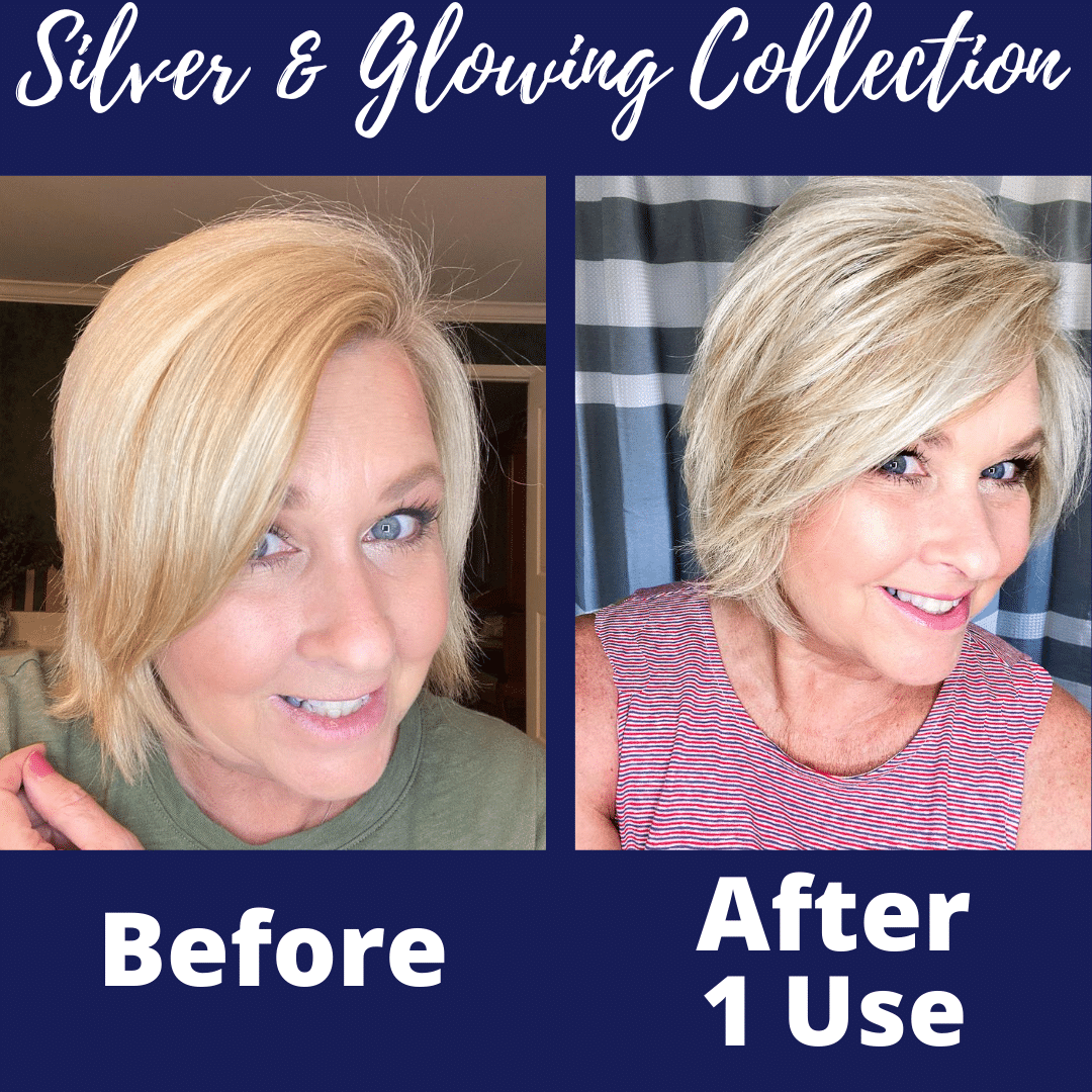 Fashion Blogger 50 Is Not Old's before & after photo when using the Silver & Glowing Collection from Hair Biology