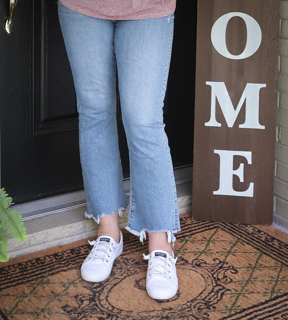 Fashion Blogger 50 Is Not Old is ready for celebrating Labor Day in her distressed jeans, and Sperry sneakers