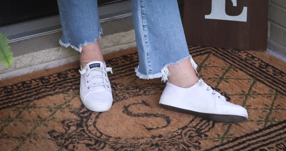 Fashion Blogger 50 Is Not Old is ready for celebrating Labor Day in her Sperry sneakers